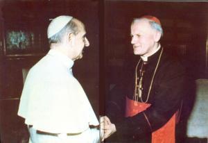 Juan Pablo II con su antecesor Paulo VI